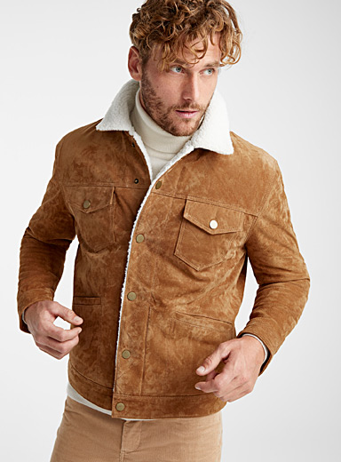 Sherpa-lined suede finish jacket