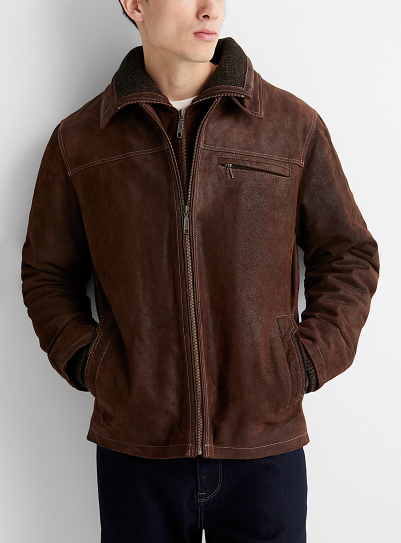 Double-collar suede jacket