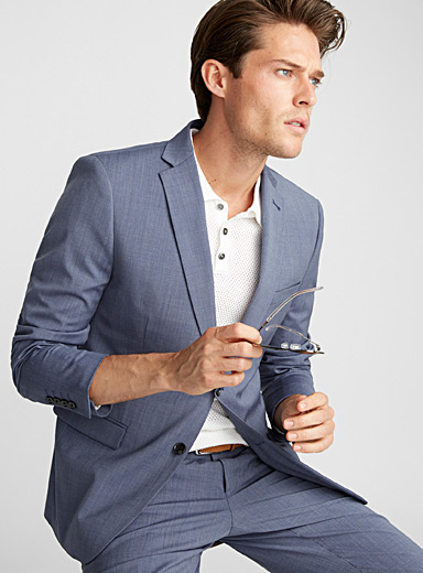 Stretch chambray suit <br>Semi-slim fit