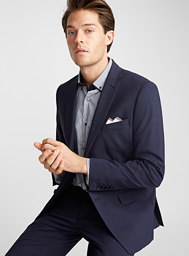 Tone-on-tone Prince of Wales suit <br>Semi-slim fit