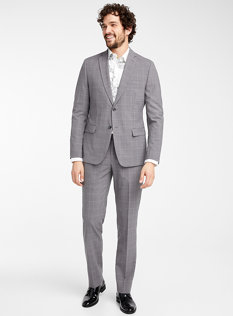 Bosco Grey Traced check suit  Semi-slim fit for men