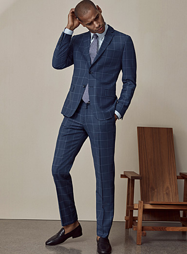 Bosco Blue Chambray windowpane check suit  Semi-slim fit for men