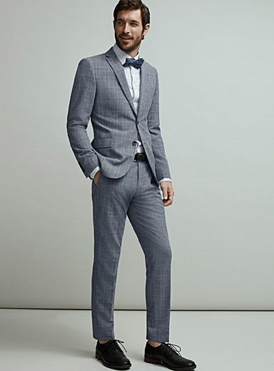 Bosco Patterned Blue Prince of Wales linen touch suit  Semi-slim fit for men