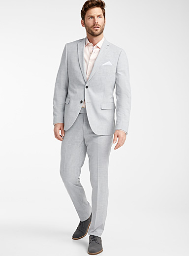 Bosco Light Grey Light grey chambray suit  Semi-slim fit for men