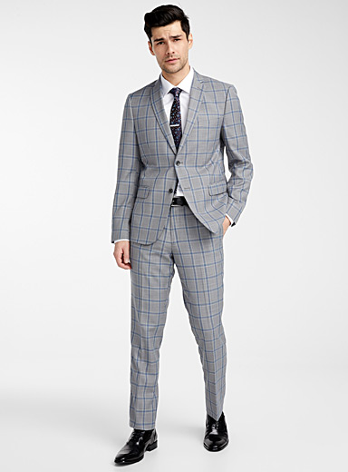 Blue check suit  Semi-slim fit