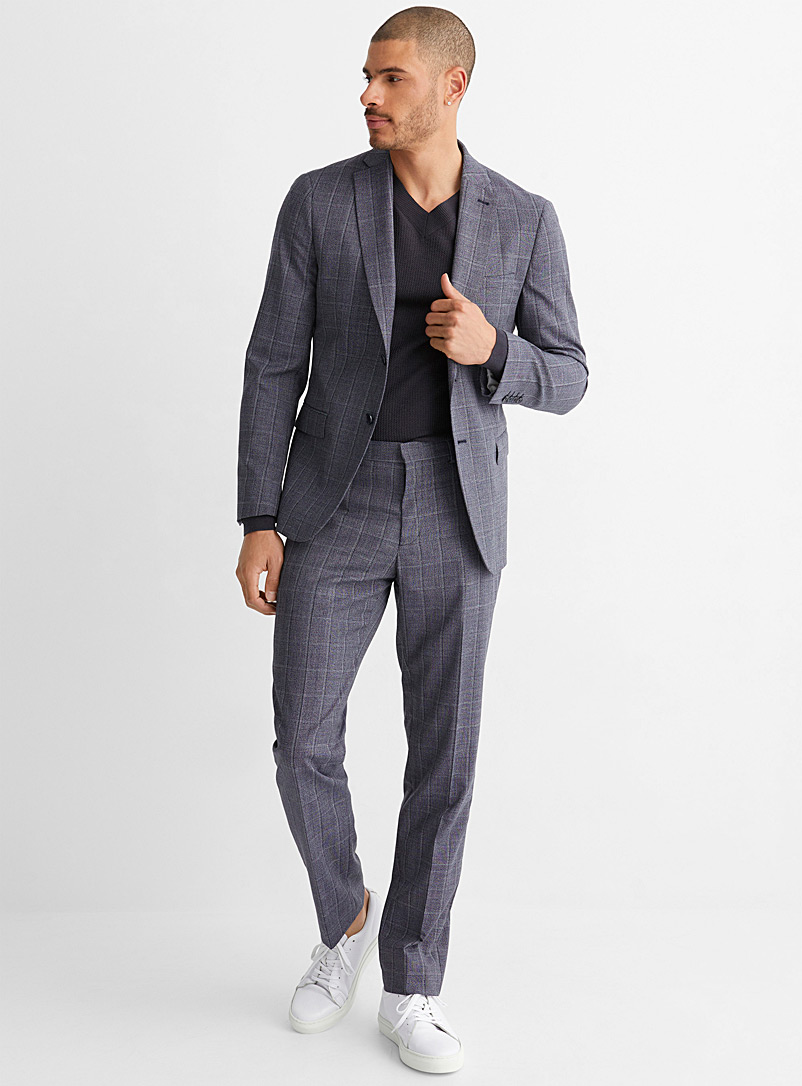 Bosco Marine Blue Heathered windowpane check suit Semi-slim fit for men
