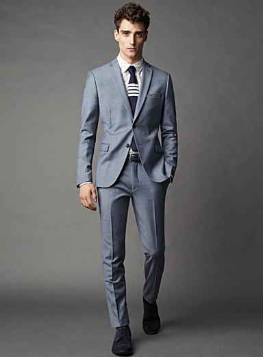 Chambray wool suit  Semi-slim fit