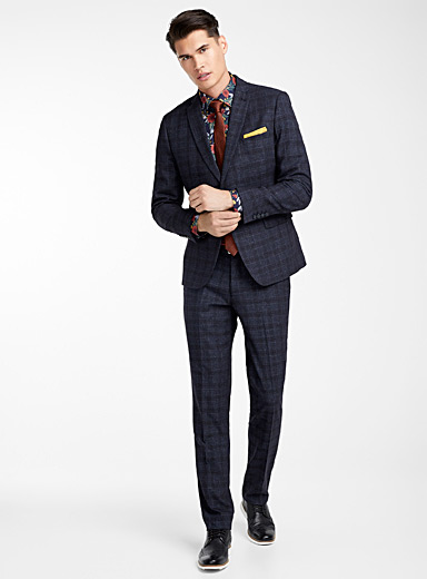 Heather check suit  Semi-slim fit
