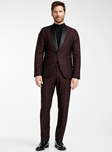 Bosco Ruby Red Baroque jacquard tuxedo suit  Semi-slim fit for men