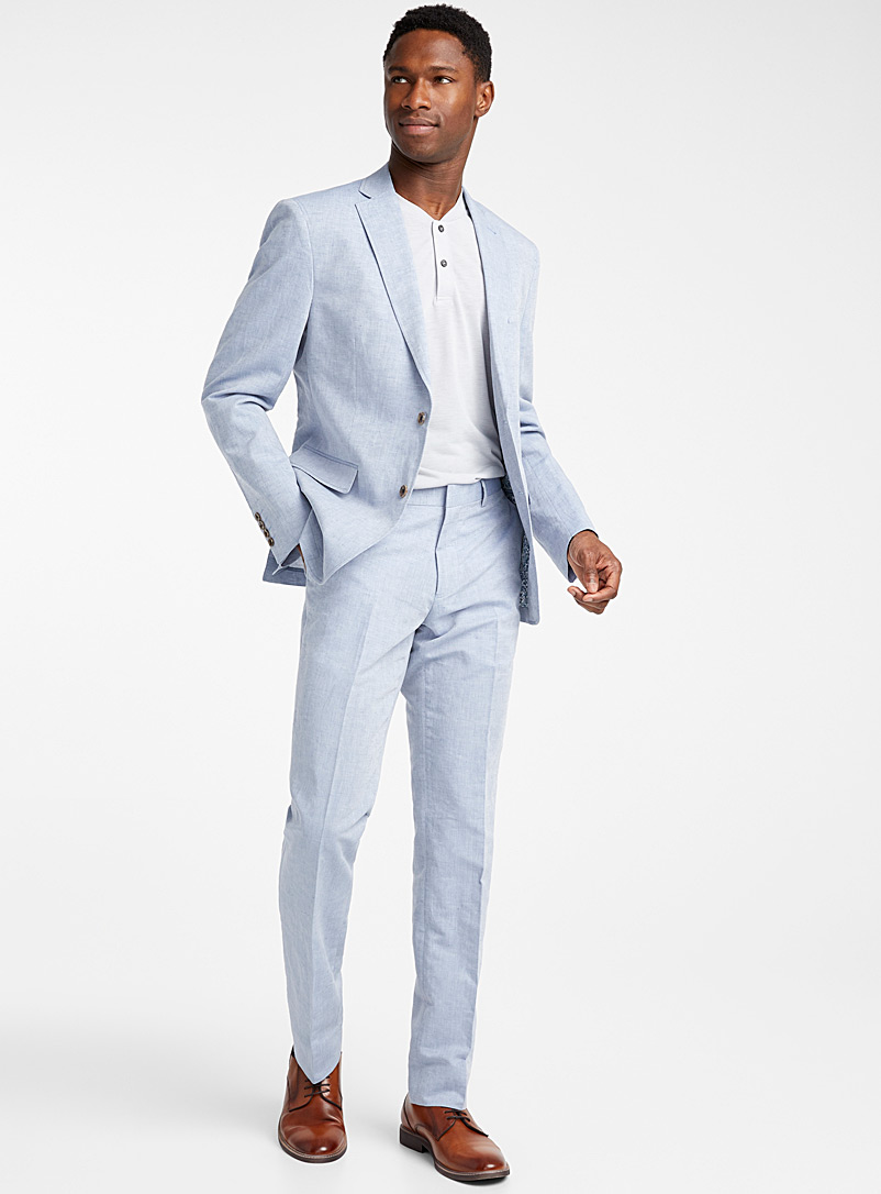 Bosco Baby Blue Chambray cotton and linen jacket Semi-slim fit for men