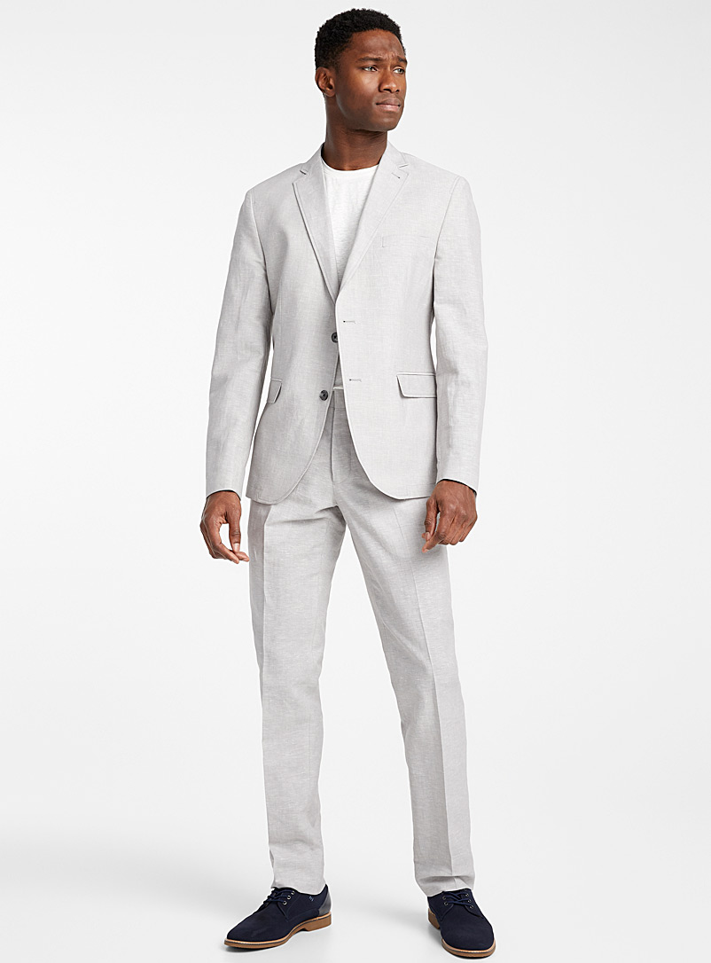 Bosco Light Grey Chambray cotton and linen jacket  Semi-slim fit for men