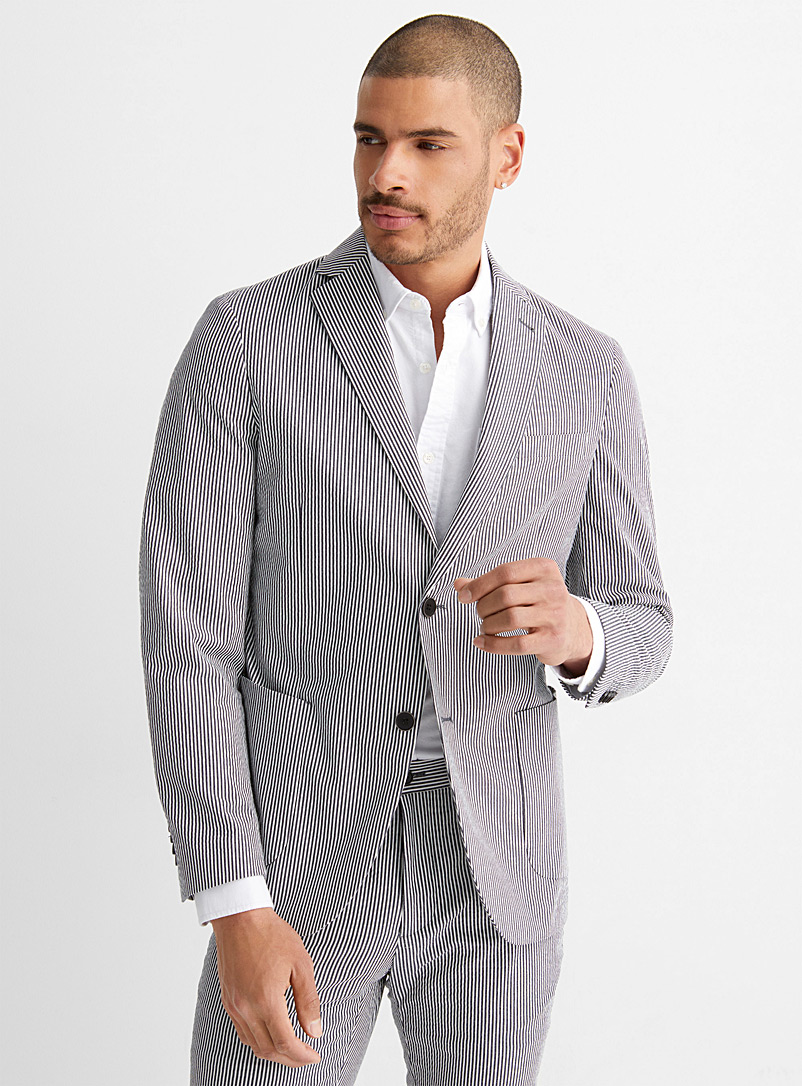 Bosco Patterned Grey Striped seersucker jacket Semi-slim fit for men