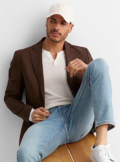 Coffee 100% linen jacket Semi-slim fit