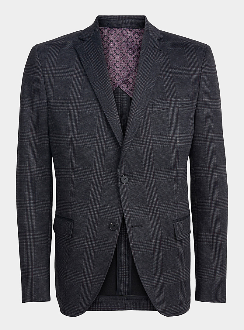 Bosco Patterned Grey Stretch Prince of Wales jacket  Semi-slim fit for men