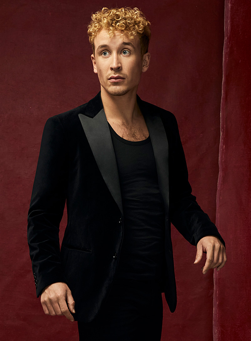 Black velvet tuxedo jacket  Semi-slim fit