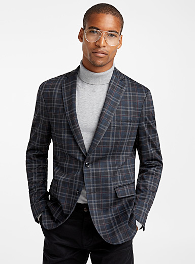 Modern check engineered jersey jacket <br>Semi-slim fit