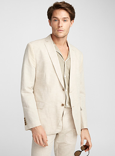 Cotton and linen natural jacket <br>Semi-slim fit