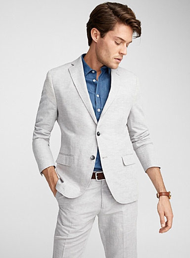 Cotton and linen natural jacket  Semi-slim fit