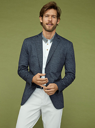 Structured jersey chambray jacket  Semi-slim fit