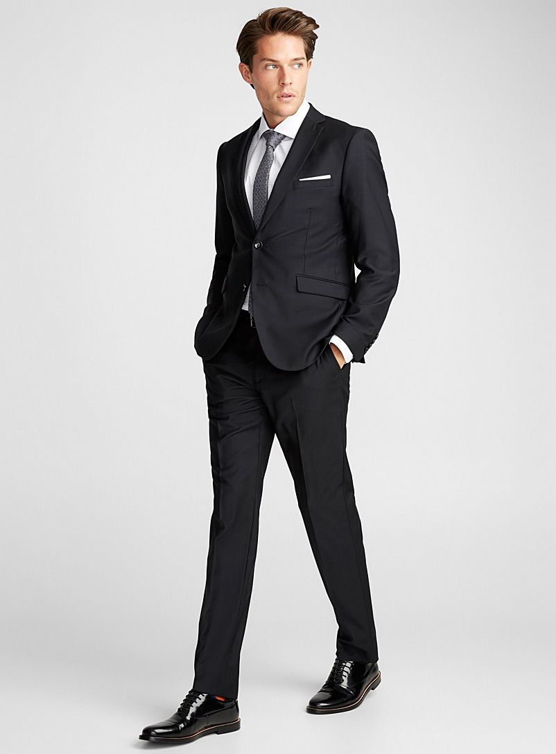 4-season wool suit  London fit - Semi-slim - Semi-slim Fit - Black