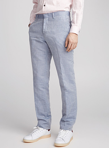 Cotton-linen chambray pant  Straight fit