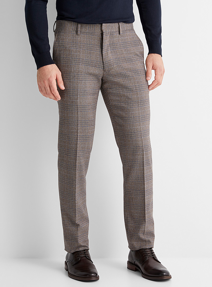 Blue-accent check pant  Straight, slim fit
