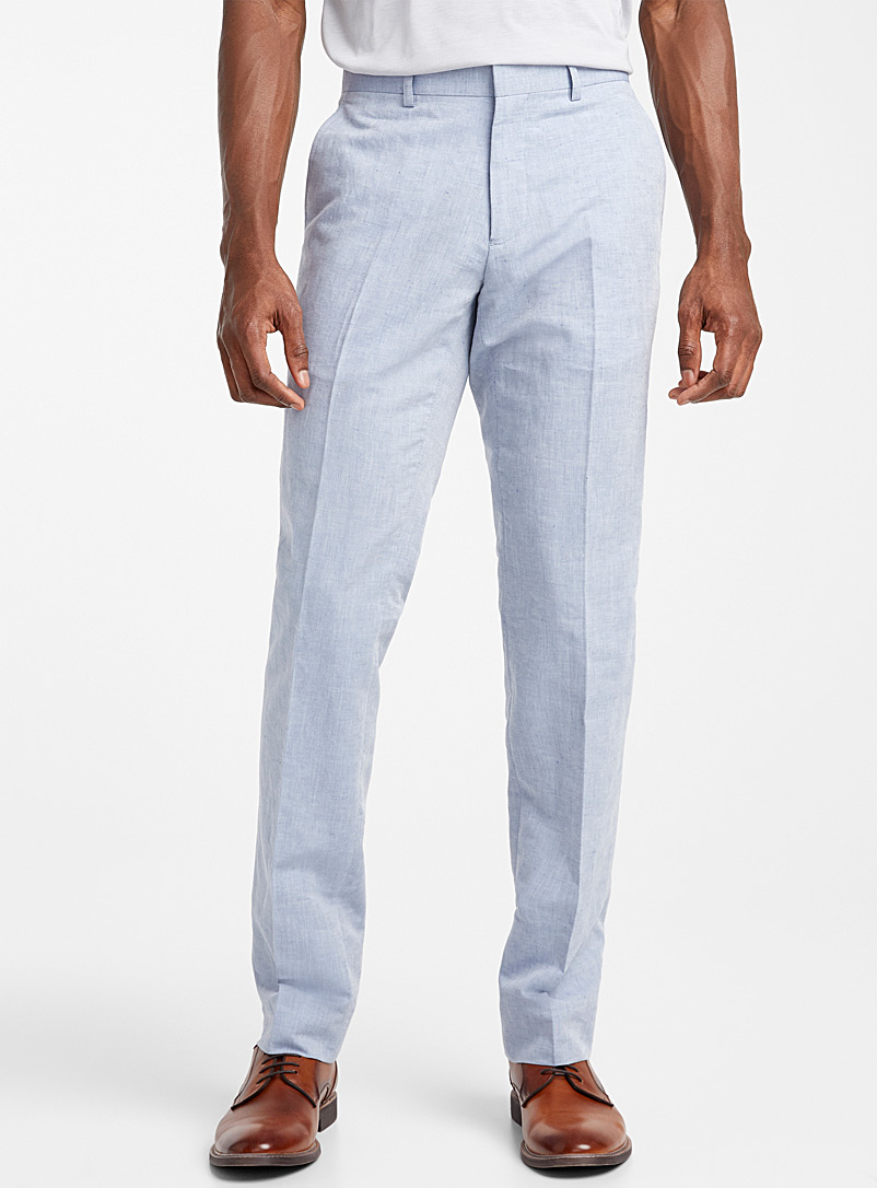 Bosco Baby Blue Cotton-linen chambray pant  Slim fit for men