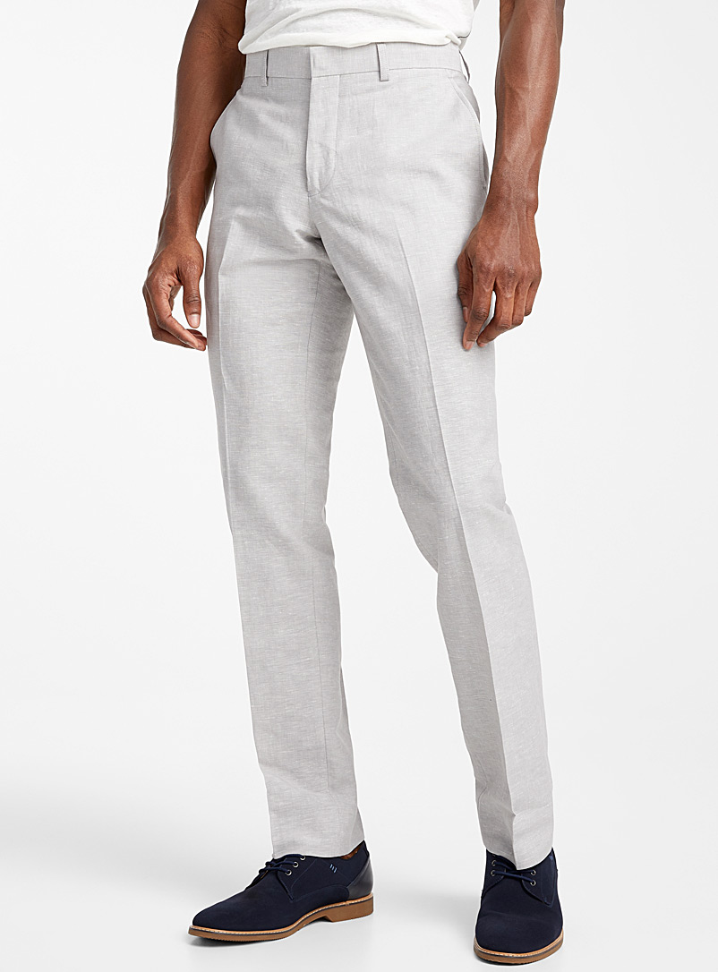 Bosco Light Grey Chambray cotton and linen pant Slim fit for men