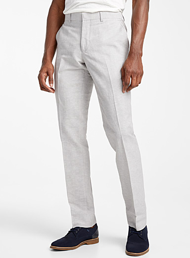 Chambray cotton and linen pant Slim fit