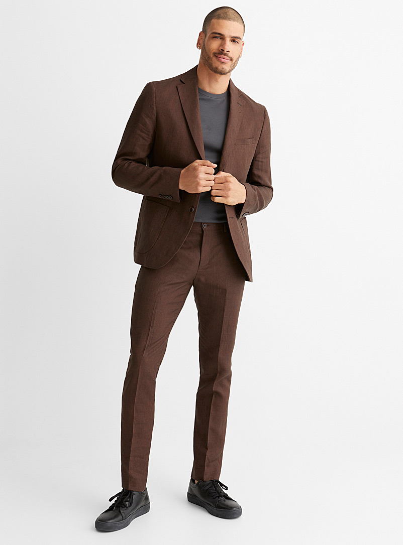 Bosco Grey Coffee 100% linen pant Straight fit for men