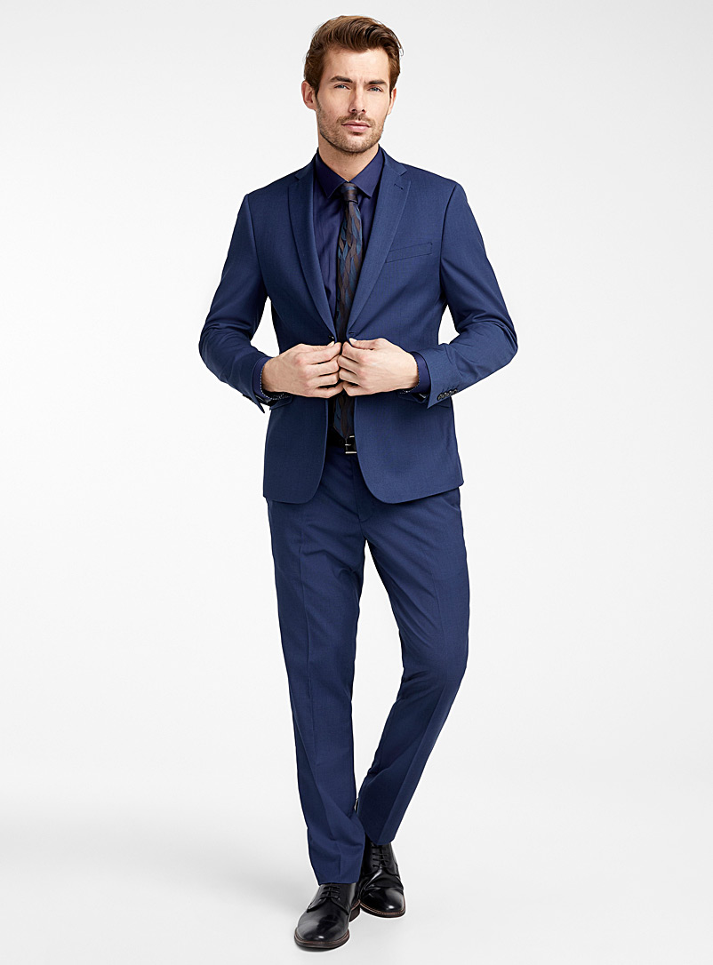 Semi-plain textured suit  London fit - Semi-slim