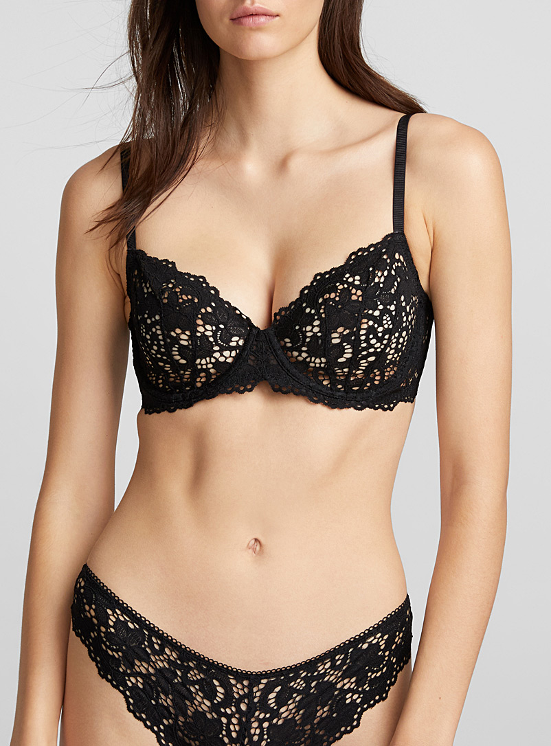 Openwork crochet balconette bra - Unlined - Black