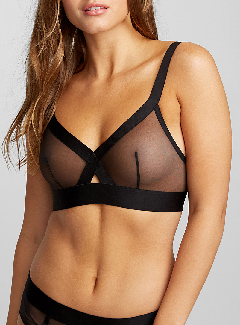 Sheer mesh triangle bra - Bralettes - Black