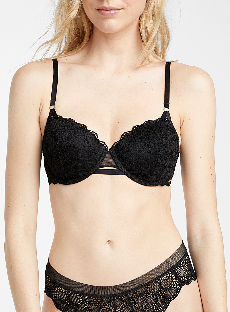 DKNY Black Superior lace balconette bra for women