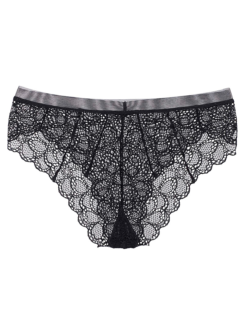 DKNY Black Superior lace Brazilian panty for women
