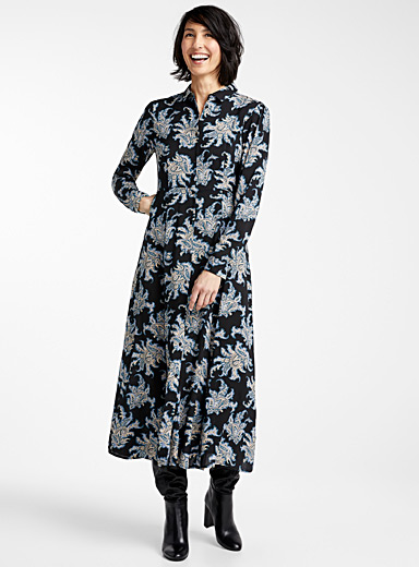 Luxurious paisley shirtdress