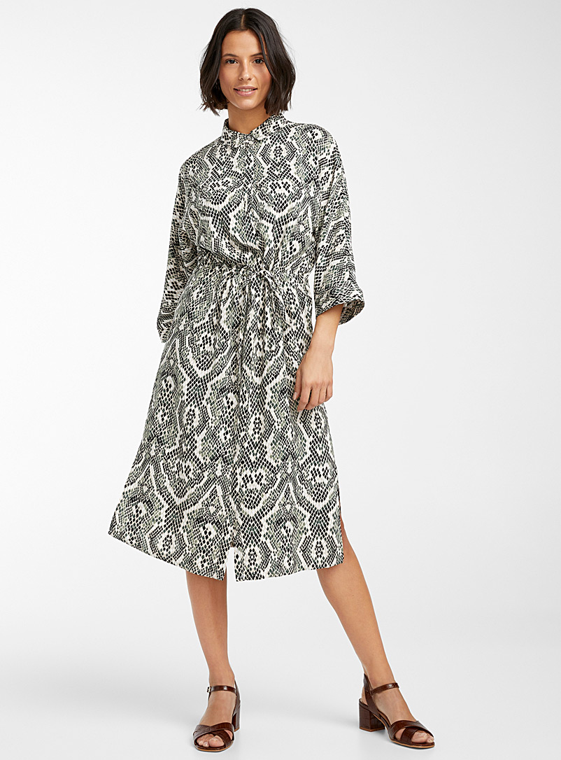 Soyaconcept Patterned Green Snakeskin shirtdress for women