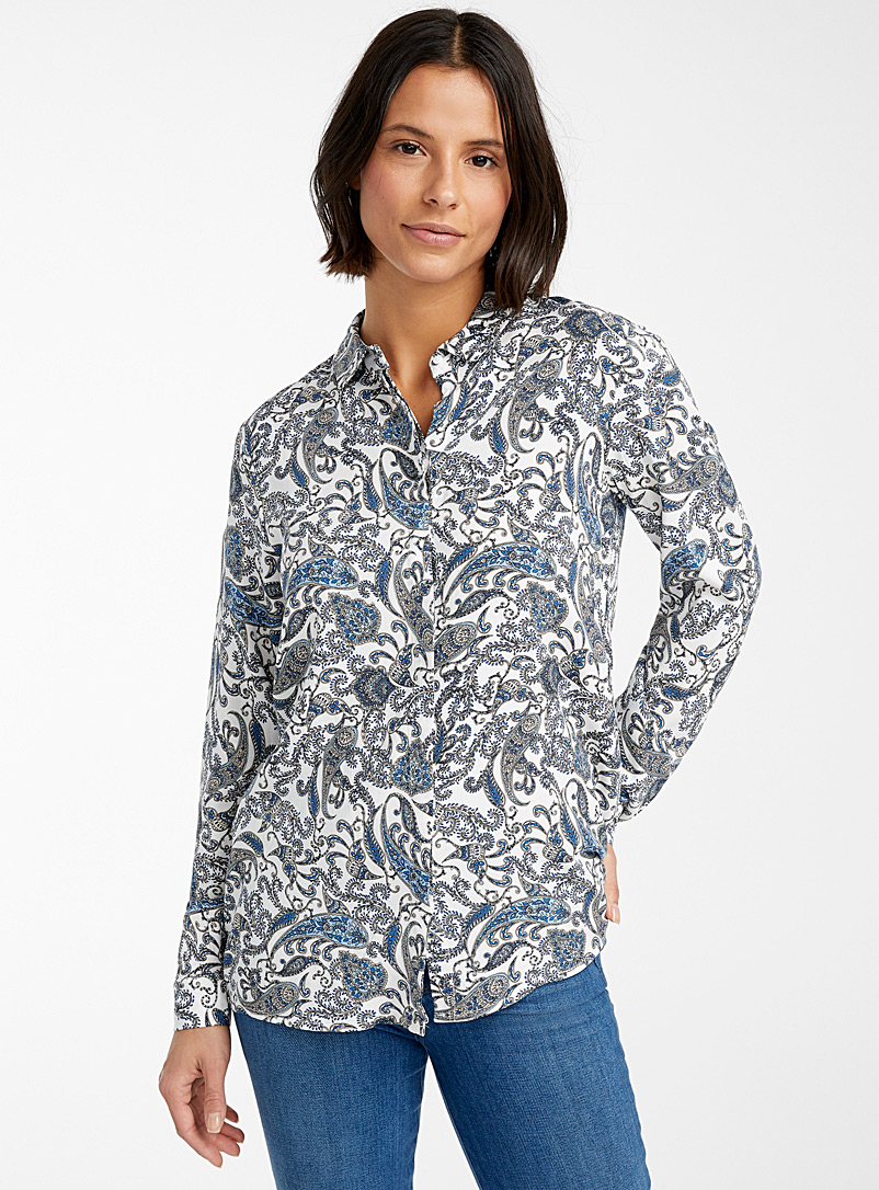 Soyaconcept Patterned Blue Luxurious paisley shirt for women