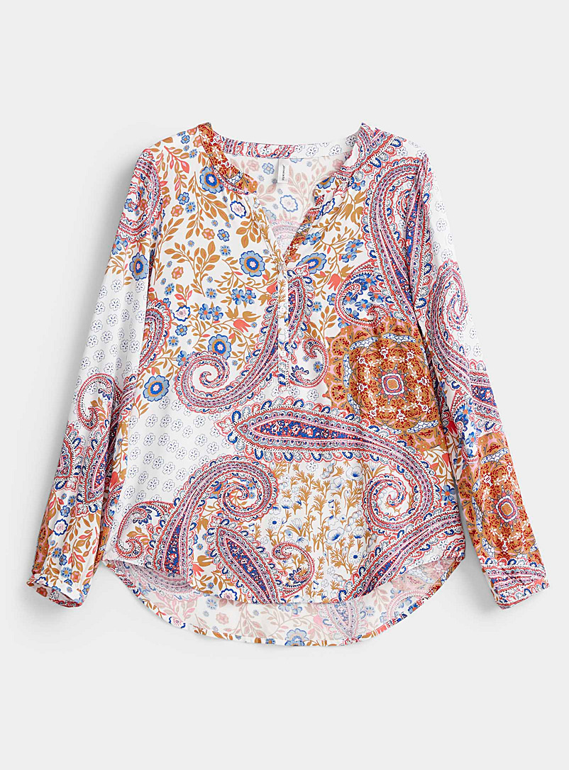 Soyaconcept Patterned Ecru Floral paisley blouse for women