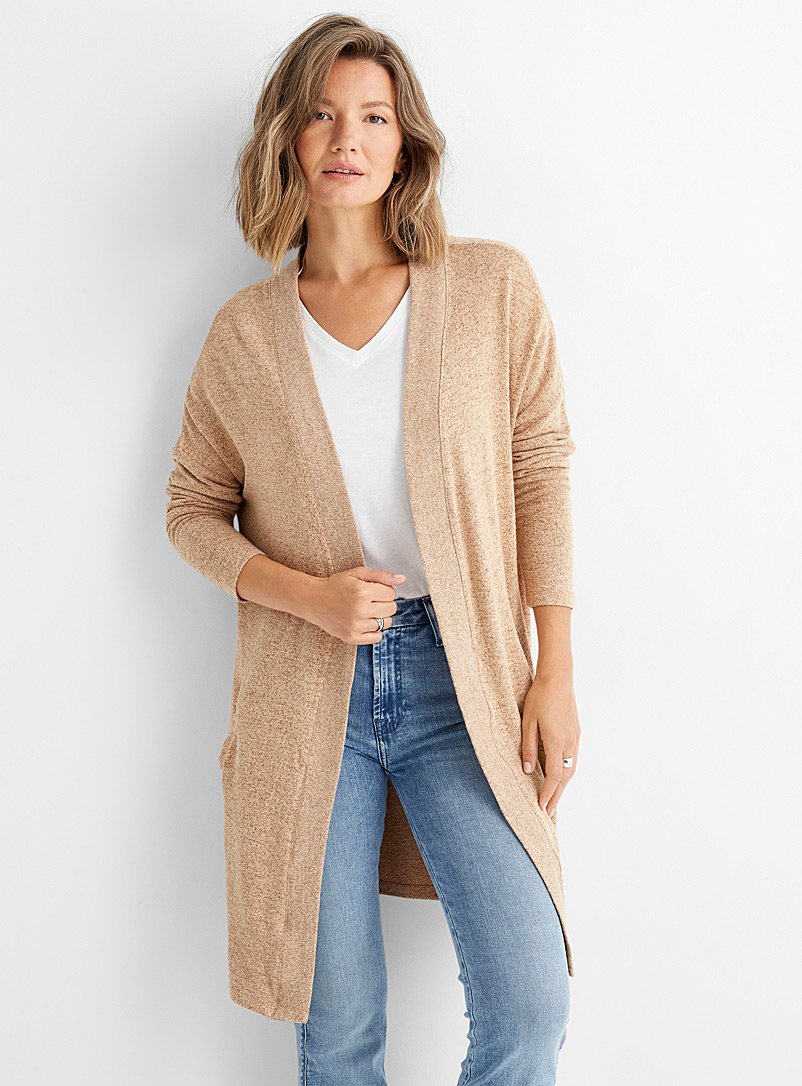 Soyaconcept Cream Beige Brushed jersey open cardigan for women