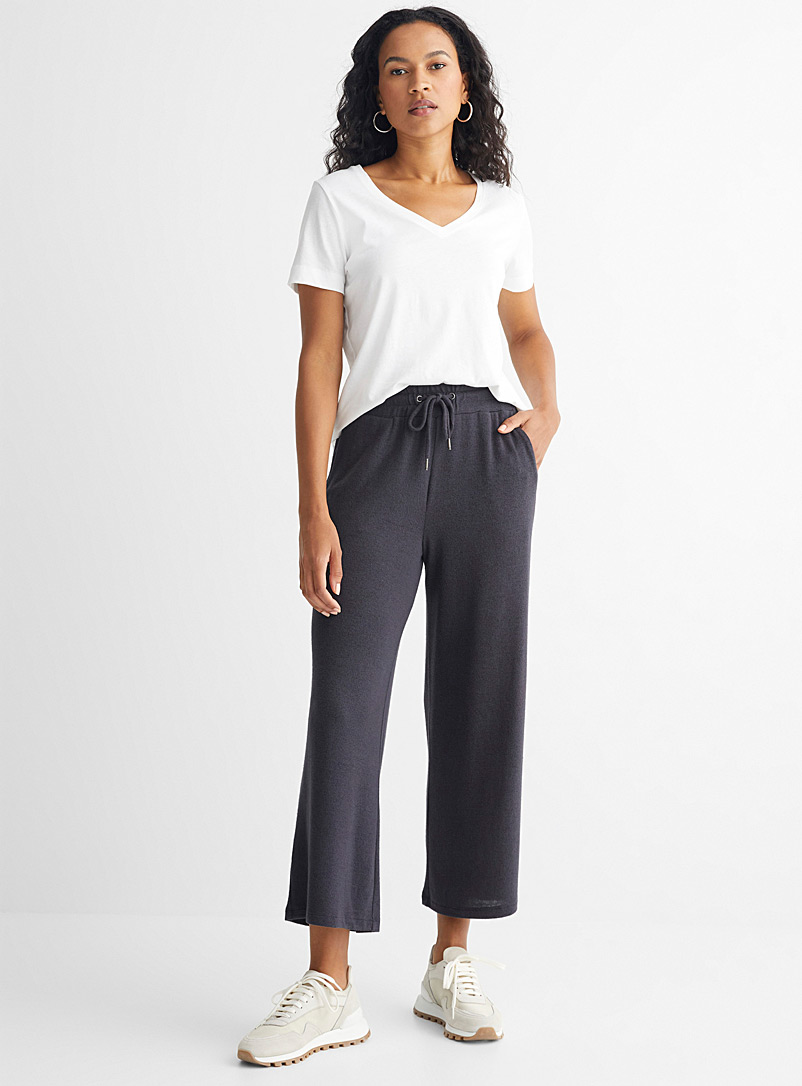 Soyaconcept Patterned Grey Brushed jersey elastic waist pants for women