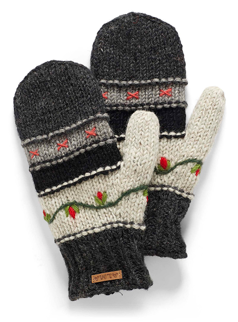 ALMA Patterned Black Floral embroidery mittens for women