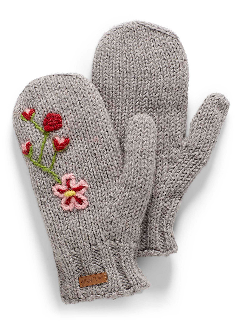 Floral embroidery mittens - Mittens - Silver