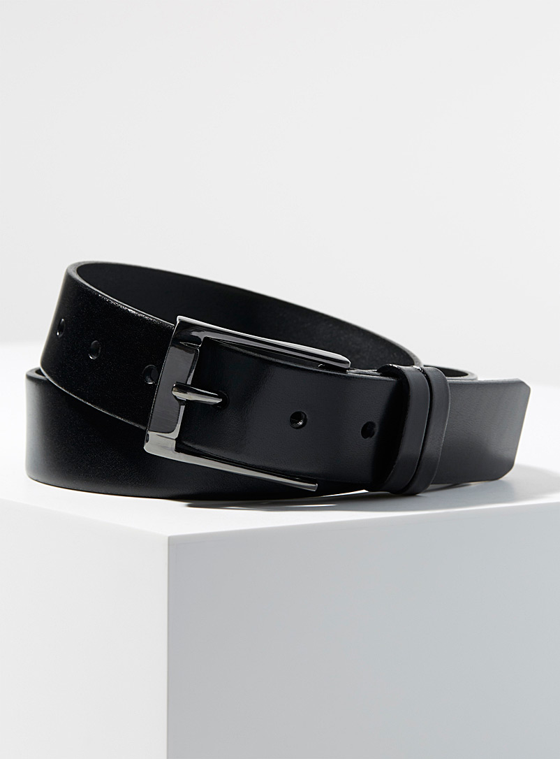 Leather belt - Dressy - Black