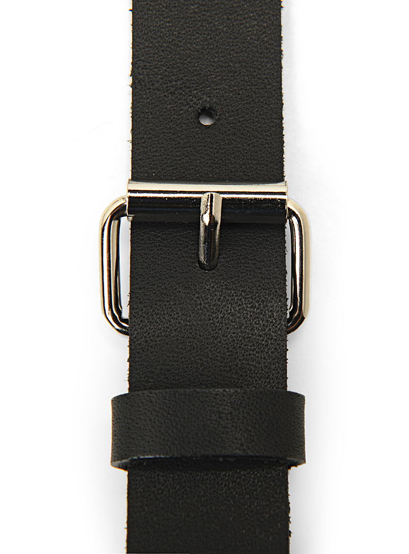 Le 31 Black Leather suspenders for men