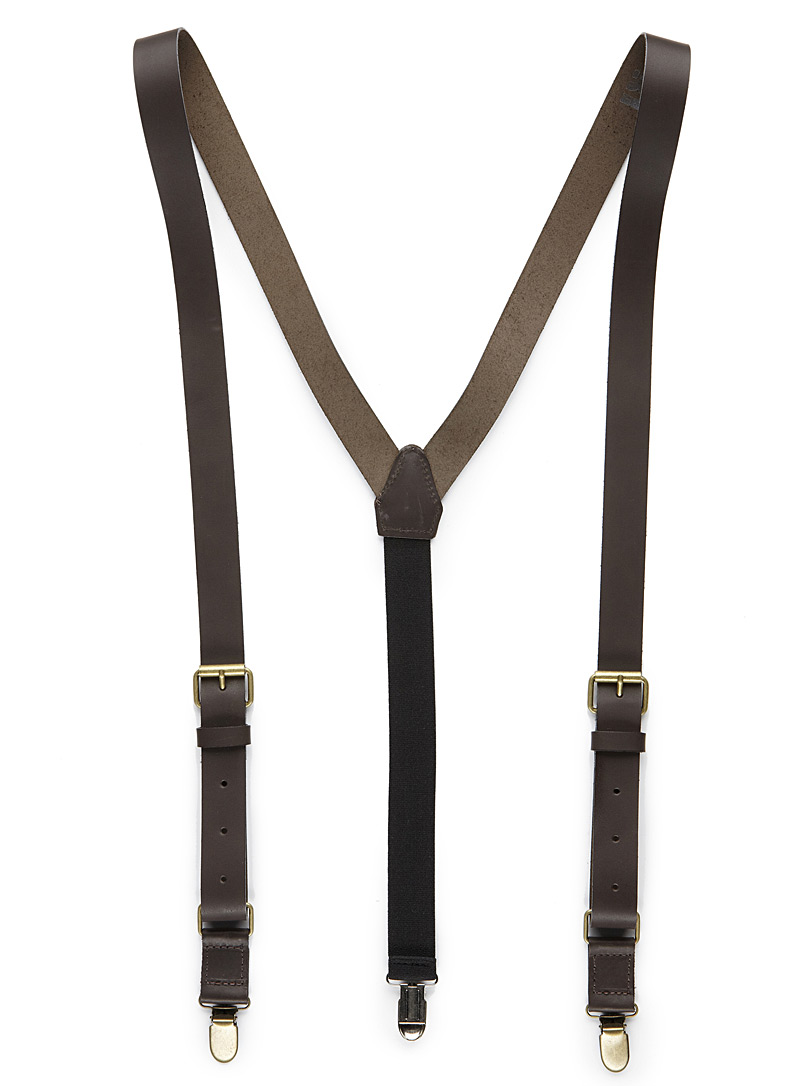 Leather suspenders - Suspenders - Brown