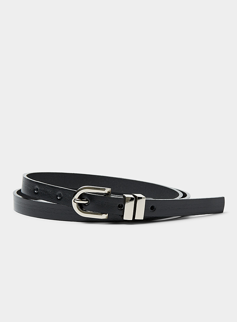 Simons Black Skinny leather belt for women