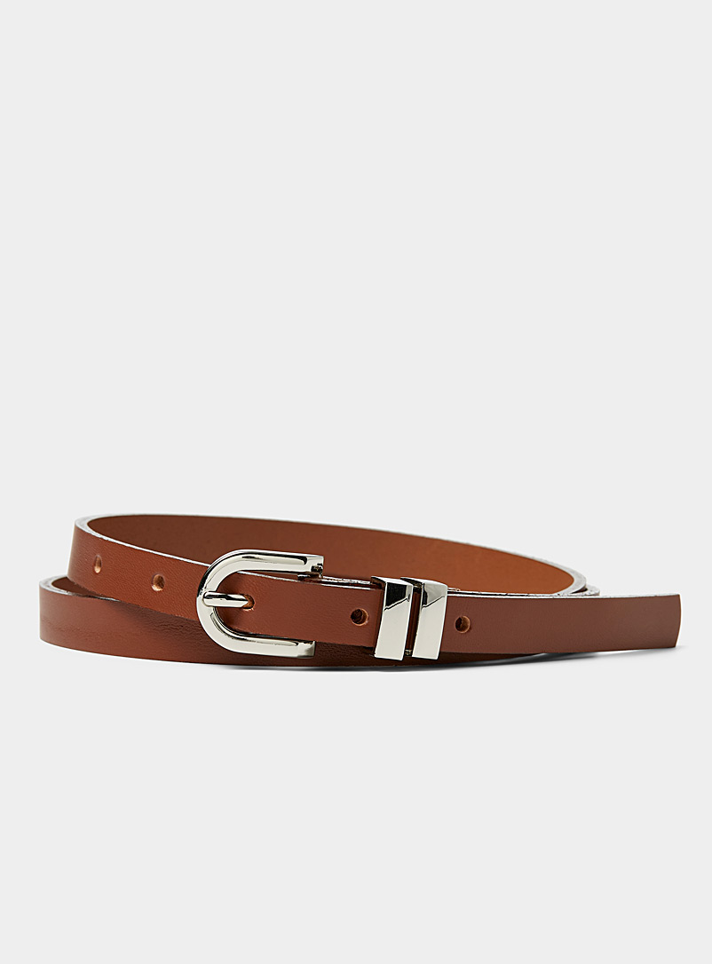 Simons Brown Skinny leather belt for women
