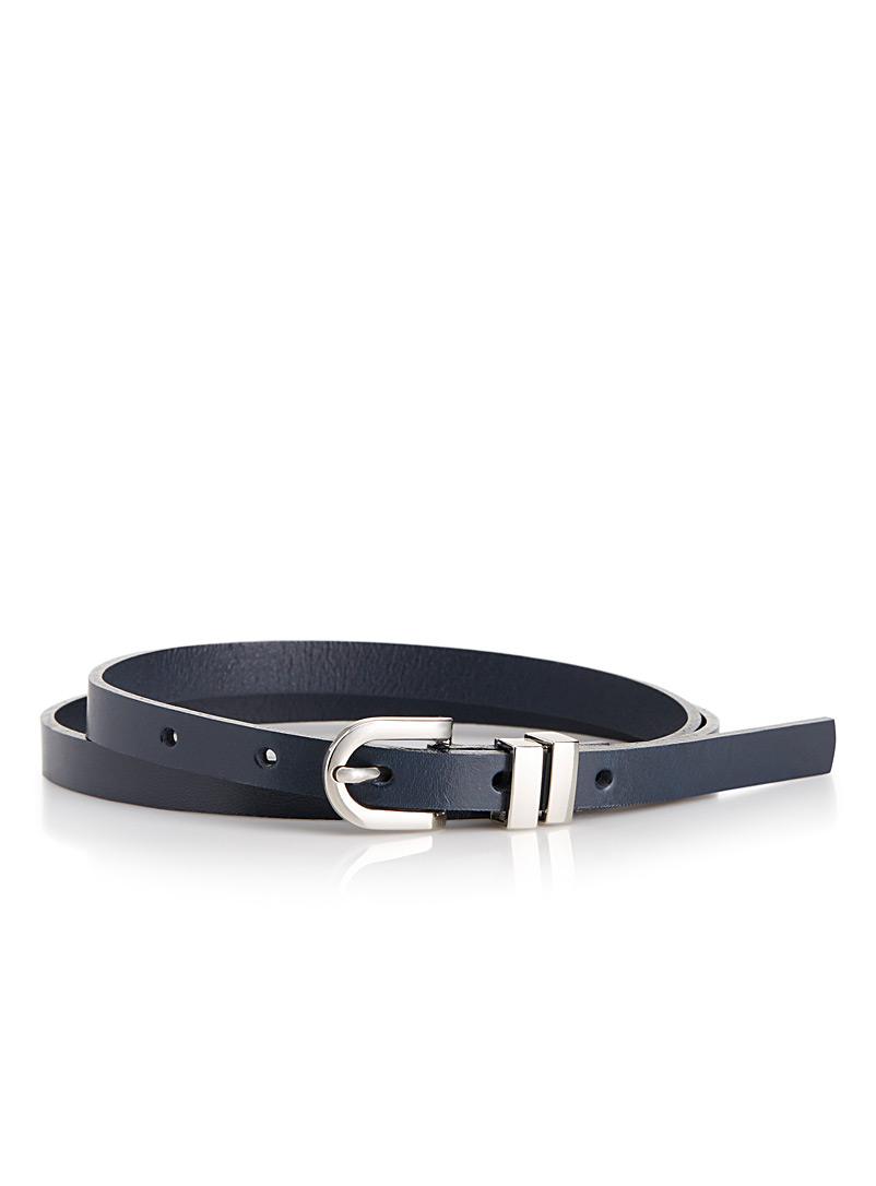 Simons Sapphire Blue Skinny leather belt for women
