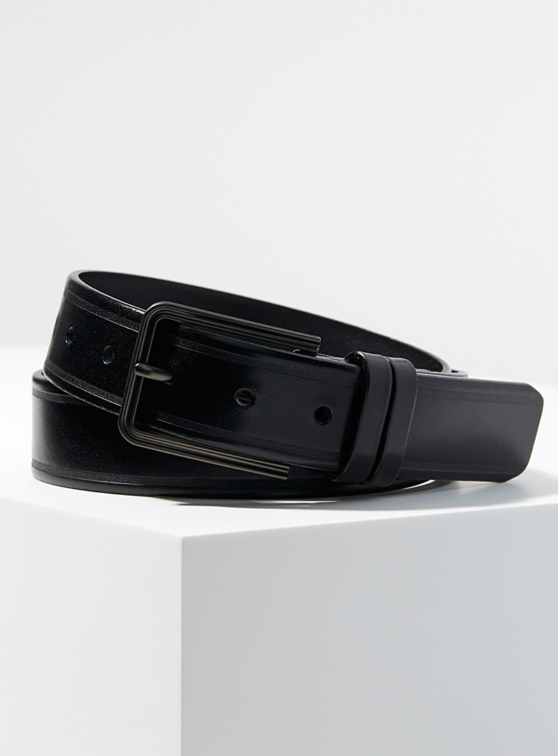 Le 31 Black Embossed stripe belt for men